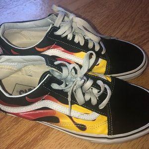 Vans Old Skool Flame Black & White Skate Shoes